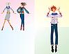 Drei Mädchen in modischer Kleidung | Stock Vektrografik