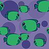 nahtloses grünes Muster mit Fischen
