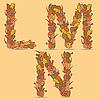 LMN kolorowe litery z liści jesienią | Stock Vector Graphics