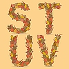 Stuv kolorowe litery z liści jesienią | Stock Vector Graphics