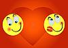 两个迷恋表情 | 向量插图