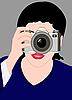 女孩用相机 | 向量插图