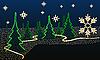 毛皮的树木和雪花 | 向量插图