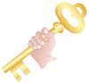 Hand mit dem goldenen Schlüssel
