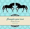 Blaue Glückwunschkarte mit Pferden