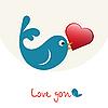 verliebter Vogel mit Herz