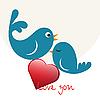 Schöne Vögel in Liebe mit Herz | Stock Vektrografik
