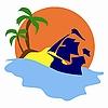 Shiffe und Insel mit Palmen