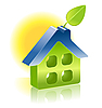 3D-Haus-Icon mit grünem Blatt