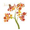 Liebes-Baum mit Blumen und Herzen