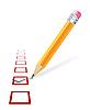Häkchen und Bleistift