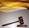 Gerechtigkeit Hintergrund mit hölzernen Hammer