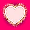 rosa Herz-Rahmen mit glitzernden goldenen