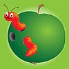 Червяк и зеленое яблоко | Векторный клипарт
