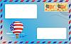blauer Umschlag mit amerikanischen Briefmarken