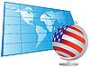 US-Flagge als Globus und Weltkarte