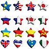 Флаги в форме звезд и сердечек | Векторный клипарт