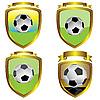 Balón de fútbol emblemas | Ilustración vectorial