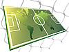 Campo de fútbol y el mapa del mundo | Ilustración vectorial