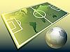 Mapa del mundo y el balón de fútbol | Ilustración vectorial