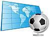 Palabra mapa y balón de fútbol como globo | Ilustración vectorial