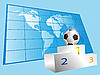 Mapa del mundo y el podio deporte | Ilustración vectorial