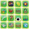 Dieciséis iconos con diferentes imágenes | Ilustración vectorial