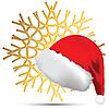 Снежинка и новогодняя шапка | Векторный клипарт