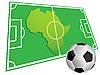Balón de fútbol y el mapa de África | Ilustración vectorial