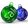Weihnachtskugeln und Rabatt