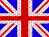 Flagge von Großbritannien auf einer Ziegelmauer