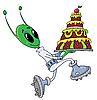 Außerirdische mit Torte