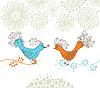 zwei Vögel und Blumen