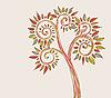 stilisierter Baum mit farbigen Blättern