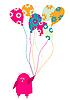 lustiger kleiner Vogel mit Luftballons