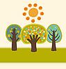 树木和阳光 | 向量插图