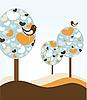 деревья с сердечками и птицами