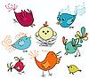 Reihe von niedlichen Vögeln