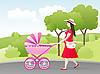 junge Frau mit einem Kinderwagen