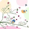 贺卡与鸟 | 向量插图