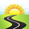 在阳光明媚的日子道路 | 向量插图