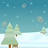 Winter-Tanne und Schneeflocken