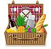 餐具和食品的野餐篮 | 向量插图