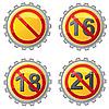 Векторный клипарт: пивные крышки со знаками ограничения по возрасту