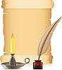 Altpapier, brennende Kerze und Feder mit Tinte