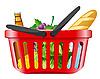购物篮的食物 | 向量插图