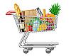 Einkaufswagen mit Käufen und Lebensmittel