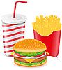 Cheeseburger, Frites Kartoffel und Pappbecher mit Soda