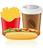 Hotdog, Frites Kartoffel und Pappbecher mit Kaffee