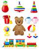 Icons von Spielzeugen und Zubehören für Babys und Kinder